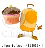 Clipart Of A 3d Yellow Suitcase Character Shrugging And Holding A Chocolate Frosted Cupcake Royalty Free Illustration