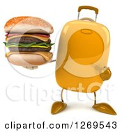 Clipart Of A 3d Yellow Suitcase Character Holding And Pointing To A Double Cheeseburger Royalty Free Illustration