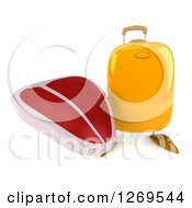 Clipart Of A 3d Yellow Suitcase Character Holding Up A Beef Steak Royalty Free Illustration