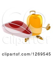 Clipart Of A 3d Yellow Suitcase Character Holding Up A Thumb And A Beef Steak Royalty Free Illustration