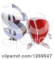 3d Beef Steak Mascot Holding Up A Dollar Symbol