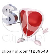 3d Beef Steak Mascot Shrugging And Holding A Dollar Symbol