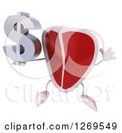 Clipart Of A 3d Beef Steak Mascot Jumping And Holding A Dollar Symbol Royalty Free Illustration