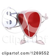 Clipart Of A 3d Beef Steak Mascot Holding Up A Finger And A Dollar Symbol Royalty Free Illustration
