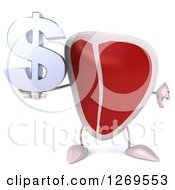 Clipart Of A 3d Beef Steak Mascot Holding A Thumb Down And A Dollar Symbol Royalty Free Illustration