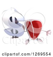 Clipart Of A 3d Beef Steak Mascot Holding Up A Dollar Symbol And A Thumb Down Royalty Free Illustration