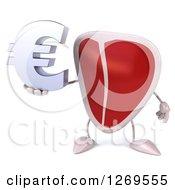 3d Beef Steak Mascot Holding A Euro Symbol