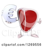 Clipart Of A 3d Beef Steak Mascot Holding A Thumb Up And A Euro Symbol Royalty Free Illustration