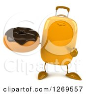 Clipart Of A 3d Yellow Suitcase Character Holding And Pointing To A Chocolate Frosted Donut Royalty Free Illustration