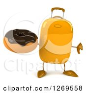 Clipart Of A 3d Yellow Suitcase Character Giving A Thumb Down And Holding A Chocolate Frosted Donut Royalty Free Illustration