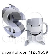 Clipart Of A 3d Happy Coffee Mug Holding Up A Dollar Symbol Royalty Free Illustration