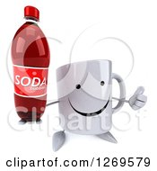 Clipart Of A 3d Happy Coffee Mug Holding Up A Thumb And A Soda Bottle Royalty Free Illustration