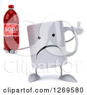 Clipart Of A 3d Unhappy Coffee Mug Holding Up A Finger And A Soda Bottle Royalty Free Illustration