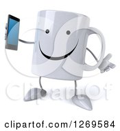 Clipart Of A 3d Happy Coffee Mug Shrugging And Holding A Smart Phone Royalty Free Illustration