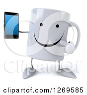 Clipart Of A 3d Happy Coffee Mug Holding And Pointing To A Smart Phone Royalty Free Illustration