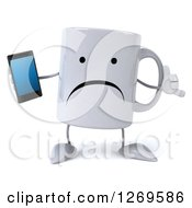 Clipart Of A 3d Unhappy Coffee Mug Holding A Smart Phone And Gesturing Call Me Royalty Free Illustration