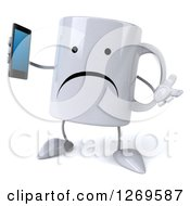 Clipart Of A 3d Unhappy Coffee Mug Shrugging And Holding A Smart Phone Royalty Free Illustration