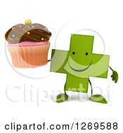 Clipart Of A 3d Happy Green Pharmaceutical Cross Character Holding A Chocolate Frosted Cupcake Royalty Free Illustration by Julos