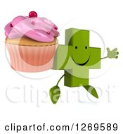 Clipart Of A 3d Happy Green Pharmaceutical Cross Character Facing Right And Jumping With A Pink Frosted Cupcake Royalty Free Illustration by Julos