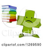 Clipart Of A 3d Unhappy Green Pharmaceutical Cross Character Holding And Pointing To A Stack Of Books Royalty Free Illustration by Julos