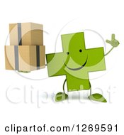 Clipart Of A 3d Happy Green Pharmaceutical Cross Character Holding Up A Finger And Boxes Royalty Free Illustration by Julos
