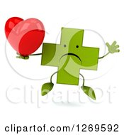 Clipart Of A 3d Unhappy Green Pharmaceutical Cross Character Jumping And Holding A Heart Royalty Free Illustration by Julos