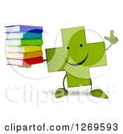 Clipart Of A 3d Happy Green Pharmaceutical Cross Character Holding Up A Finger And A Stack Of Books Royalty Free Illustration by Julos