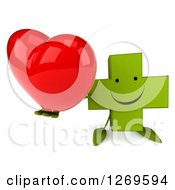 Clipart Of A 3d Happy Green Pharmaceutical Cross Character Holding Up A Heart Royalty Free Illustration by Julos