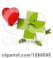 Clipart Of A 3d Unhappy Green Pharmaceutical Cross Character Shrugging And Holding A Heart Royalty Free Illustration by Julos