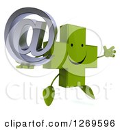 Clipart Of A 3d Happy Green Pharmaceutical Cross Character Facing Right Jumping And Holding An Arobase Email Symbol Royalty Free Illustration by Julos