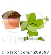 Clipart Of A 3d Unhappy Green Pharmaceutical Cross Character Holding Up A Finger And A Chocolate Frosted Cupcake Royalty Free Illustration by Julos