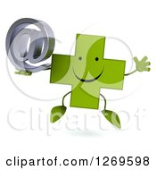 Clipart Of A 3d Happy Green Pharmaceutical Cross Character Jumping And Holding An Arobase Email Symbol Royalty Free Illustration by Julos