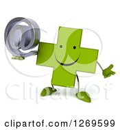 Clipart Of A 3d Happy Green Pharmaceutical Cross Character Shrugging And Holding An Arobase Email Symbol Royalty Free Illustration by Julos