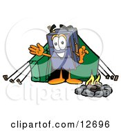 Suitcase Cartoon Character Camping With A Tent And Fire
