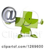 Clipart Of A 3d Happy Green Pharmaceutical Cross Character Giving A Thumb Up And Holding An Arobase Email Symbol Royalty Free Illustration by Julos