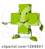 Clipart Of A 3d Happy Green Pharmaceutical Cross Character Presenting Royalty Free Illustration by Julos