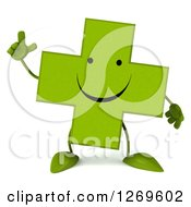 Clipart Of A 3d Happy Green Pharmaceutical Cross Character Holding Up A Finger Royalty Free Illustration by Julos