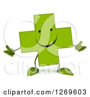 Clipart Of A 3d Happy Green Pharmaceutical Cross Character Welcoming Royalty Free Illustration by Julos