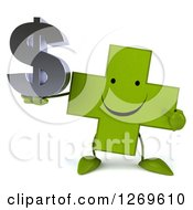Clipart Of A 3d Happy Green Pharmaceutical Cross Character Holding And Pointing To A Dollar Symbol Royalty Free Illustration by Julos