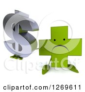 Clipart Of A 3d Unhappy Green Pharmaceutical Cross Character Holding Up A Dollar Symbol Royalty Free Illustration by Julos