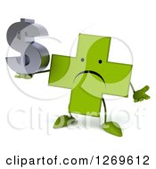Clipart Of A 3d Unhappy Green Pharmaceutical Cross Character Shrugging And Holding A Dollar Symbol Royalty Free Illustration by Julos