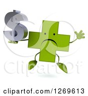 Clipart Of A 3d Unhappy Green Pharmaceutical Cross Character Jumping With A Dollar Symbol Royalty Free Illustration by Julos