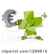 Clipart Of A 3d Happy Green Pharmaceutical Cross Character Holding Up A Finger And A Euro Symbol Royalty Free Illustration by Julos
