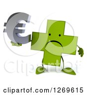Clipart Of A 3d Unhappy Green Pharmaceutical Cross Character Holding A Euro Symbol Royalty Free Illustration by Julos