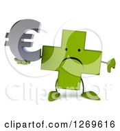 Clipart Of A 3d Unhappy Green Pharmaceutical Cross Character Holding Thumb Down And A Euro Symbol Royalty Free Illustration by Julos