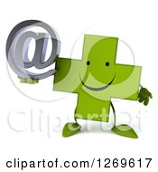 Clipart Of A 3d Happy Green Pharmaceutical Cross Character Holding An Arobase Email Symbol Royalty Free Illustration by Julos