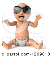 3d Bald White Baby Boy Sitting And Wearing Sunglasses