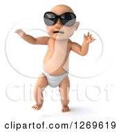 3d Bald White Baby Boy Walking And Wearing Sunglasses