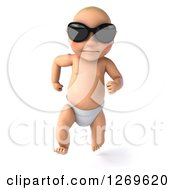 3d Bald White Baby Boy Running And Wearing Sunglasses
