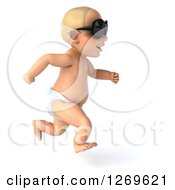 Clipart Of A 3d Blond White Baby Boy Running And Wearing Sunglasses Royalty Free Illustration
